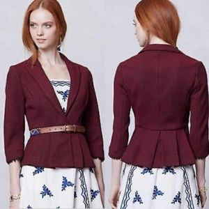 Anthropologie Tabitha Red Navy Chandelier Blazer